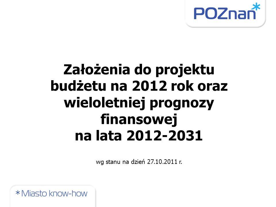 Założenia do projektu budżetu na 2012 rok oraz wieloletniej prognozy finansowej na lata 2012-2031 wg stanu na dzień 27.10.2011 r.