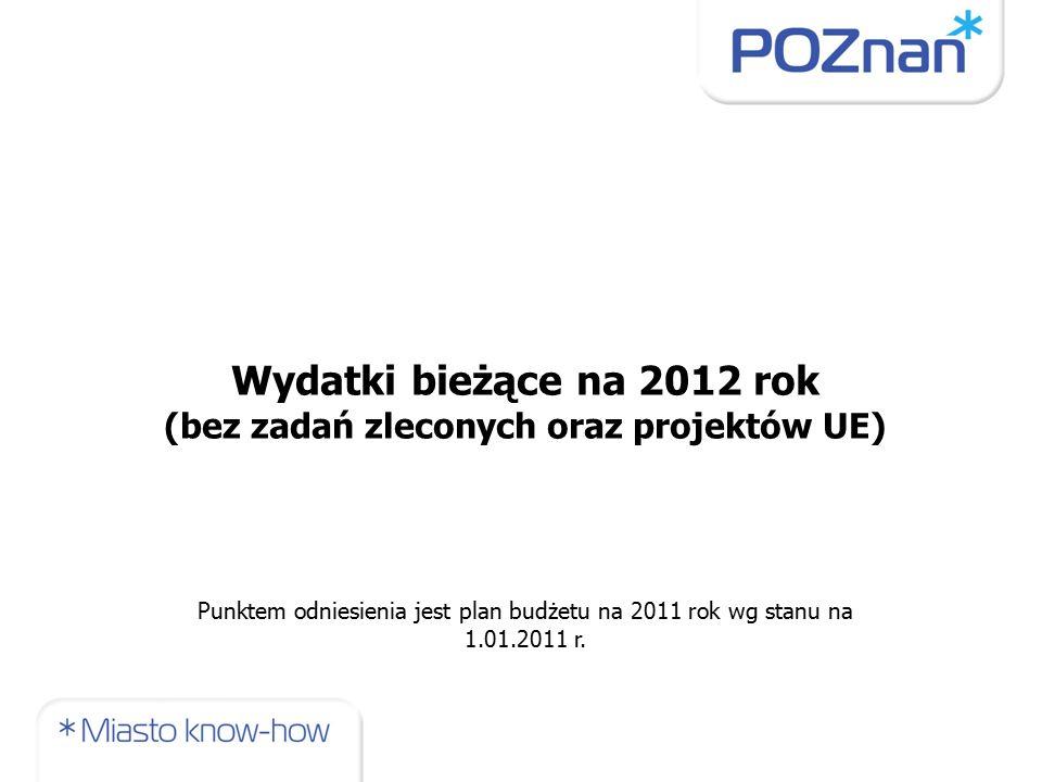 Wydatki bieżące na 2012 rok (bez zadań zleconych oraz projektów UE) Punktem odniesienia jest plan budżetu na 2011 rok wg stanu na 1.01.2011 r.