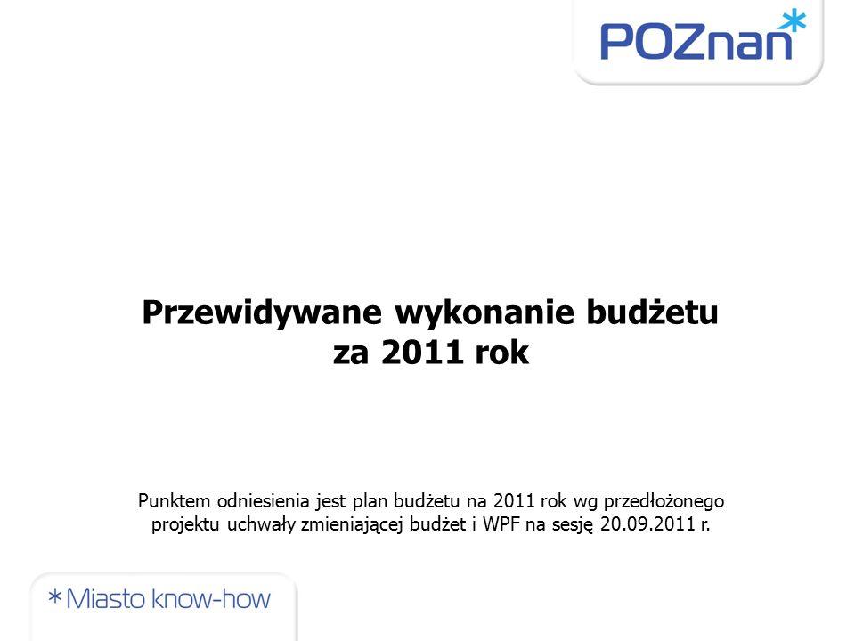 Przewidywane wykonanie budżetu za 2011 rok Punktem odniesienia jest plan budżetu na 2011 rok wg przedłożonego projektu uchwały zmieniającej budżet i WPF na sesję 20.09.2011 r.