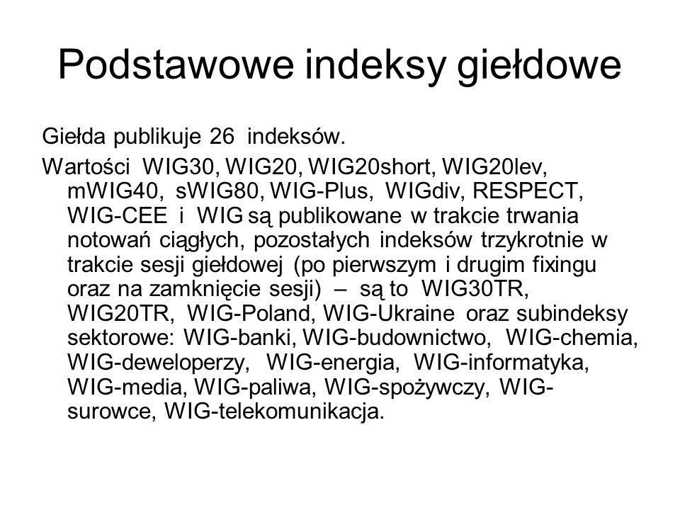 Podstawowe indeksy giełdowe Giełda publikuje 26 indeksów.