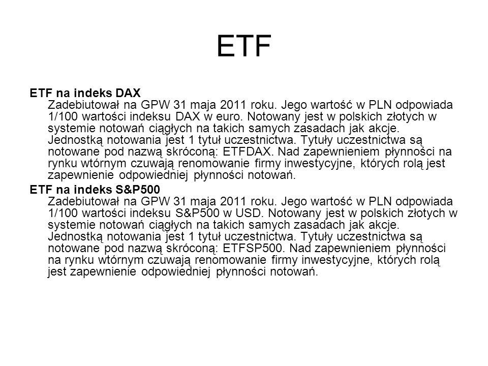 ETF ETF na indeks DAX Zadebiutował na GPW 31 maja 2011 roku.