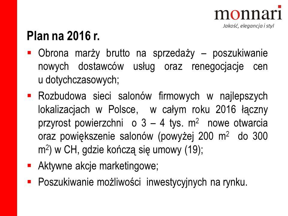 Jakość, elegancja i styl Plan na 2016 r.