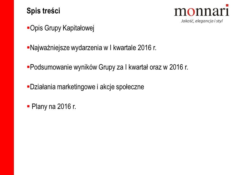 Jakość, elegancja i styl Spis treści  Opis Grupy Kapitałowej  Najważniejsze wydarzenia w I kwartale 2016 r.