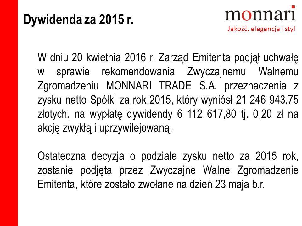 Dywidenda za 2015 r. Jakość, elegancja i styl W dniu 20 kwietnia 2016 r.