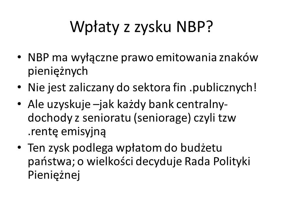 Wpłaty z zysku NBP? NBP ma wyłączne prawo emitowania znaków pieniężnych Nie jest zaliczany do sektora fin.publicznych! Ale uzyskuje –jak każdy bank ce