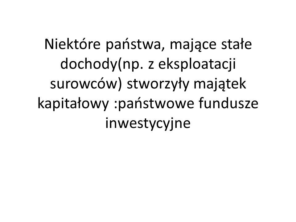 Niektóre państwa, mające stałe dochody(np. z eksploatacji surowców) stworzyły majątek kapitałowy :państwowe fundusze inwestycyjne
