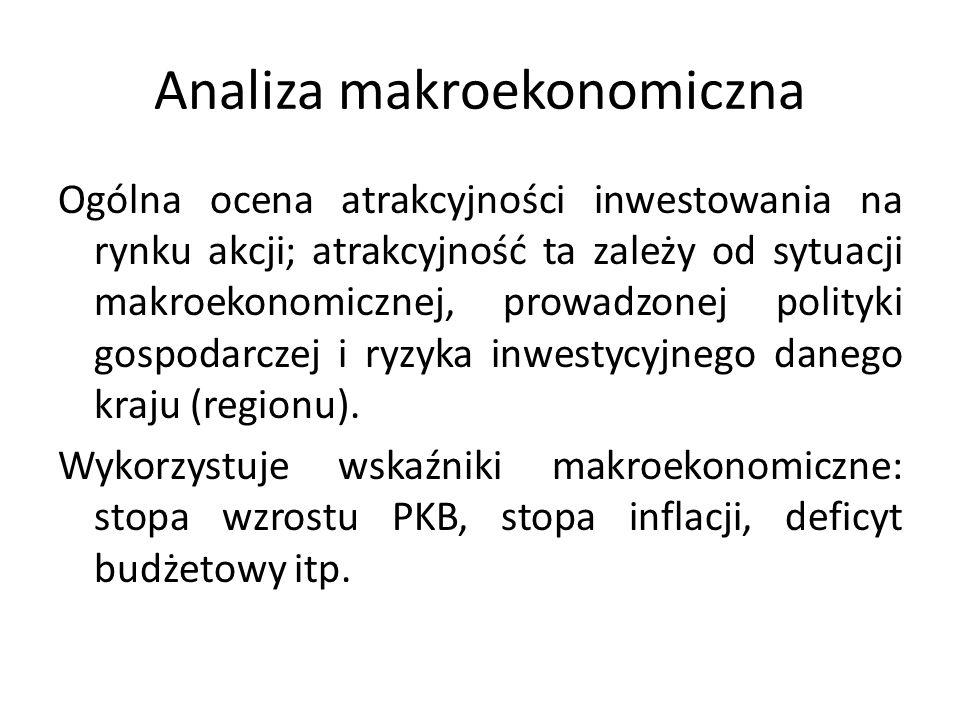 Analiza makroekonomiczna Ogólna ocena atrakcyjności inwestowania na rynku akcji; atrakcyjność ta zależy od sytuacji makroekonomicznej, prowadzonej polityki gospodarczej i ryzyka inwestycyjnego danego kraju (regionu).