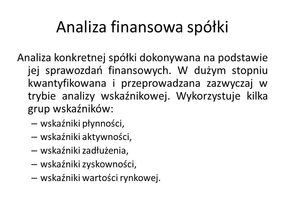 Analiza finansowa spółki Analiza konkretnej spółki dokonywana na podstawie jej sprawozdań finansowych. W dużym stopniu kwantyfikowana i przeprowadzana