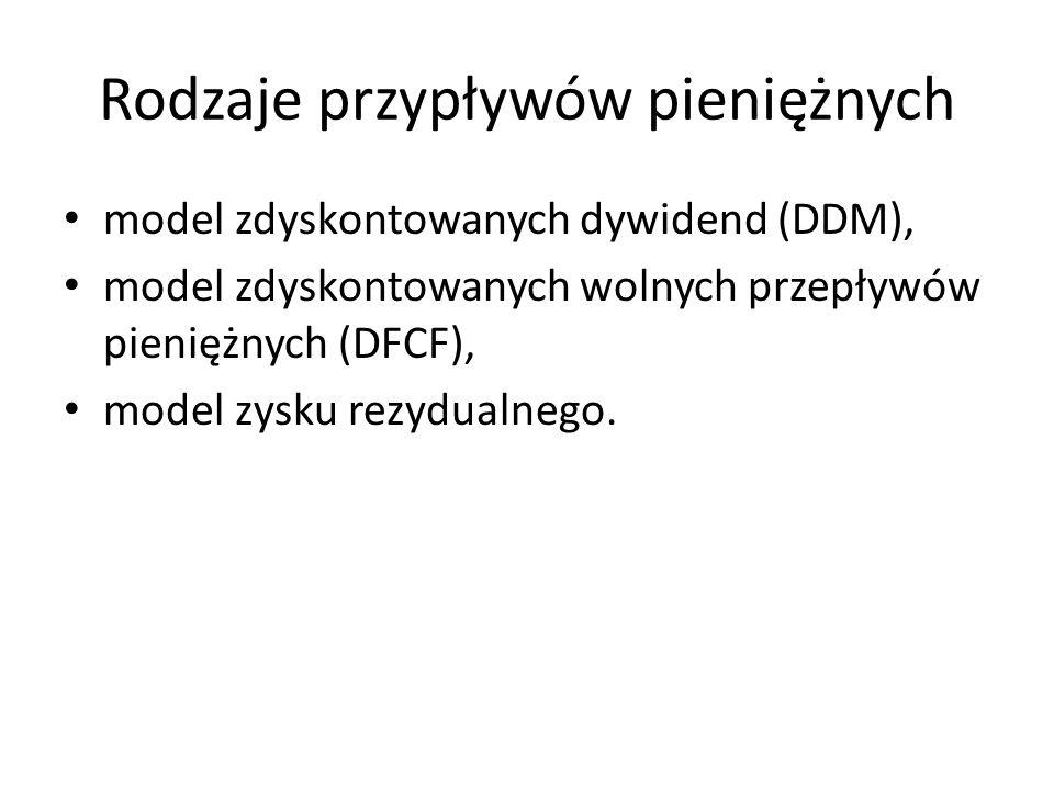 Rodzaje przypływów pieniężnych model zdyskontowanych dywidend (DDM), model zdyskontowanych wolnych przepływów pieniężnych (DFCF), model zysku rezydual