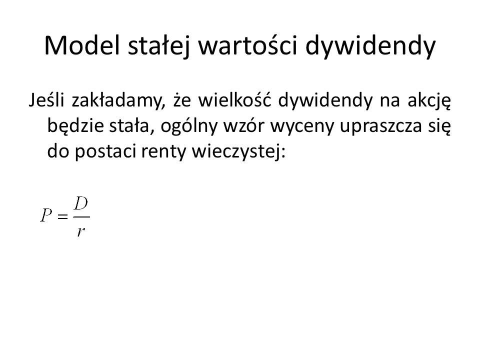 Model stałej wartości dywidendy Jeśli zakładamy, że wielkość dywidendy na akcję będzie stała, ogólny wzór wyceny upraszcza się do postaci renty wieczystej: