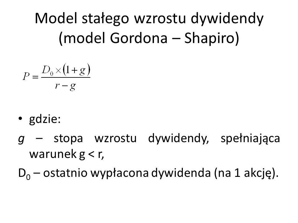 Model stałego wzrostu dywidendy (model Gordona – Shapiro) gdzie: g – stopa wzrostu dywidendy, spełniająca warunek g < r, D 0 – ostatnio wypłacona dywi