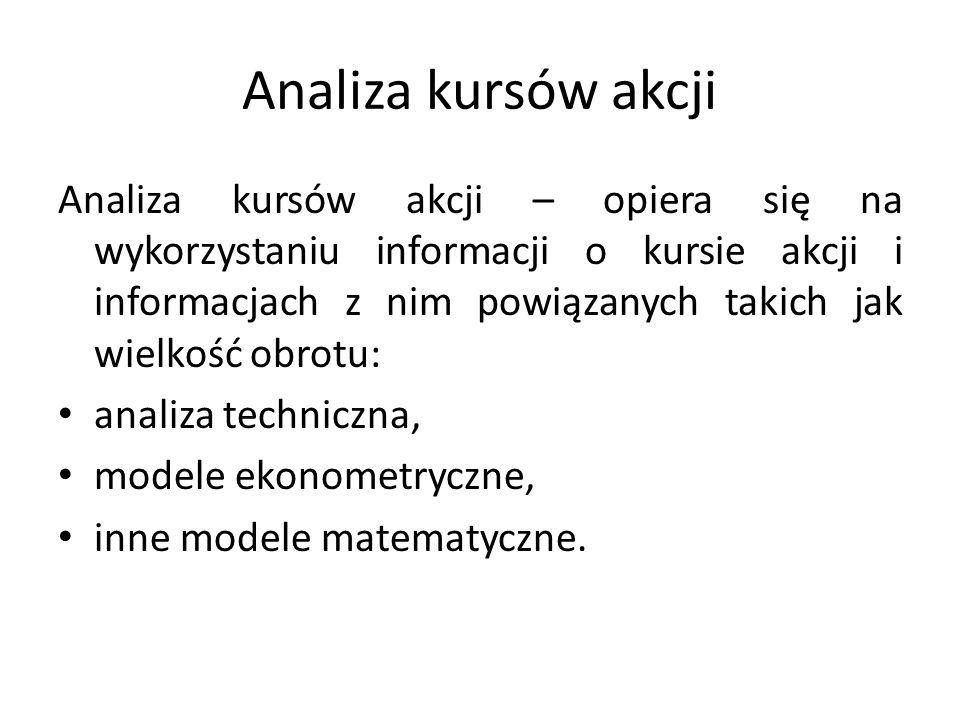 Analiza kursów akcji Analiza kursów akcji – opiera się na wykorzystaniu informacji o kursie akcji i informacjach z nim powiązanych takich jak wielkość