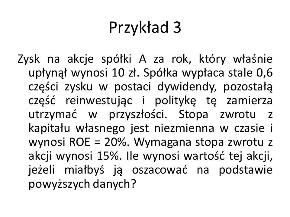 Przykład 3 Zysk na akcje spółki A za rok, który właśnie upłynął wynosi 10 zł.
