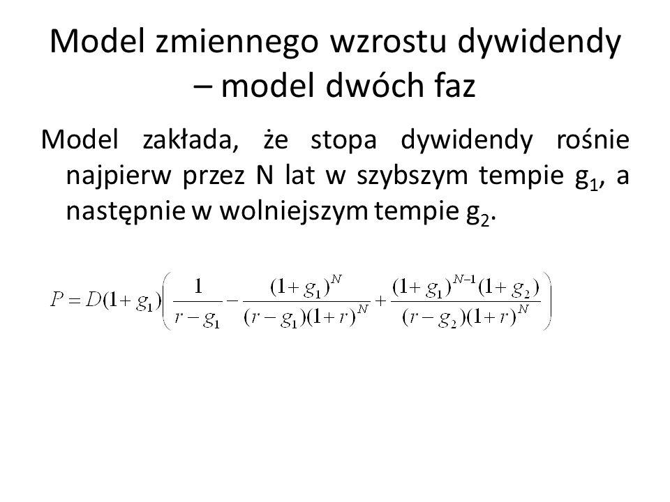 Model zmiennego wzrostu dywidendy – model dwóch faz Model zakłada, że stopa dywidendy rośnie najpierw przez N lat w szybszym tempie g 1, a następnie w wolniejszym tempie g 2.
