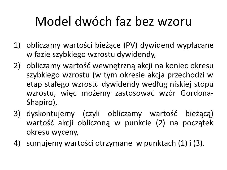 Model dwóch faz bez wzoru 1)obliczamy wartości bieżące (PV) dywidend wypłacane w fazie szybkiego wzrostu dywidendy, 2)obliczamy wartość wewnętrzną akc