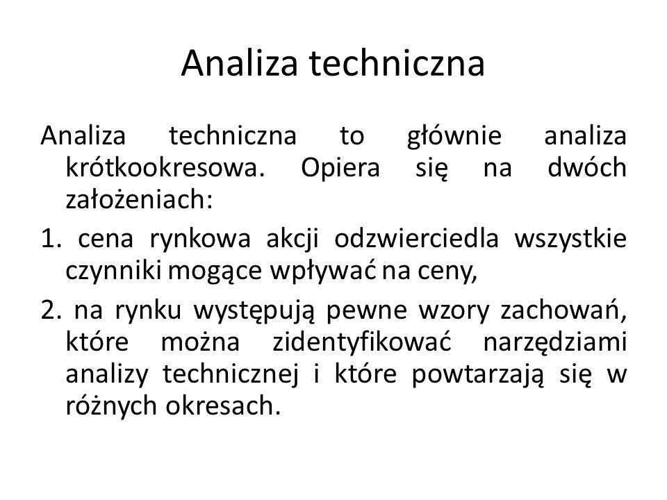 Analiza techniczna Analiza techniczna to głównie analiza krótkookresowa. Opiera się na dwóch założeniach: 1. cena rynkowa akcji odzwierciedla wszystki