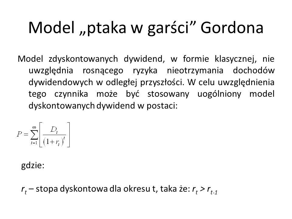 """Model """"ptaka w garści Gordona Model zdyskontowanych dywidend, w formie klasycznej, nie uwzględnia rosnącego ryzyka nieotrzymania dochodów dywidendowych w odległej przyszłości."""