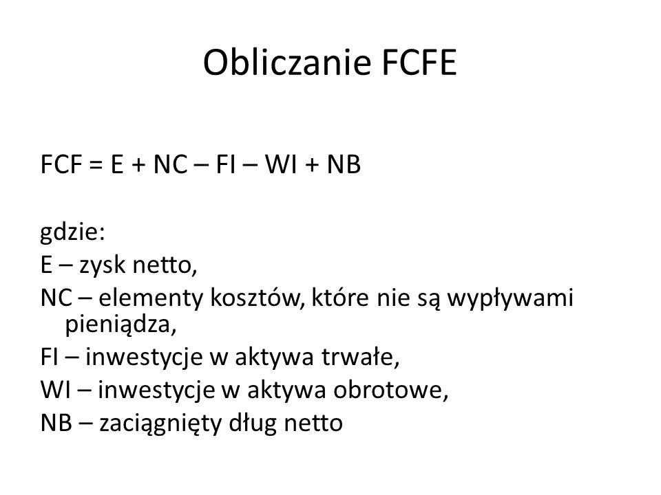 Obliczanie FCFE FCF = E + NC – FI – WI + NB gdzie: E – zysk netto, NC – elementy kosztów, które nie są wypływami pieniądza, FI – inwestycje w aktywa trwałe, WI – inwestycje w aktywa obrotowe, NB – zaciągnięty dług netto