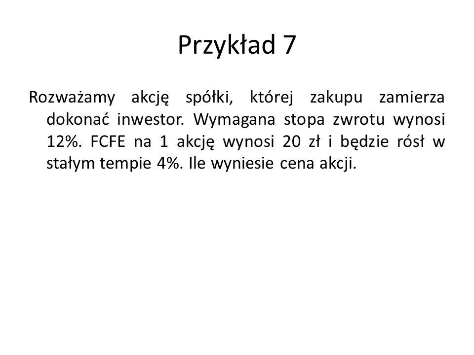 Przykład 7 Rozważamy akcję spółki, której zakupu zamierza dokonać inwestor.