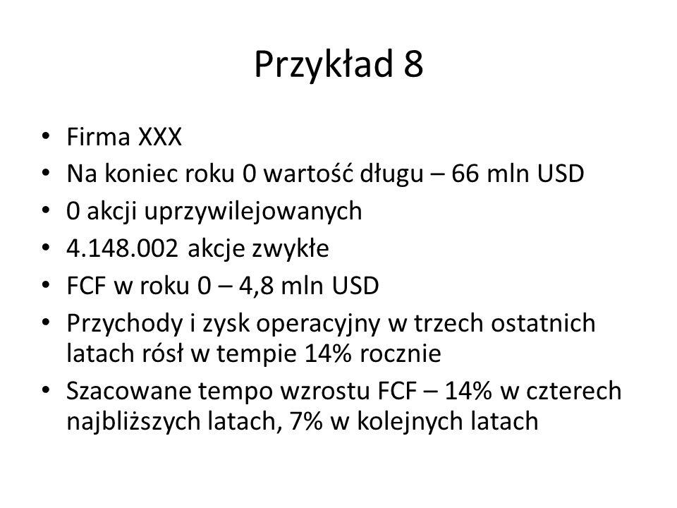Przykład 8 Firma XXX Na koniec roku 0 wartość długu – 66 mln USD 0 akcji uprzywilejowanych 4.148.002 akcje zwykłe FCF w roku 0 – 4,8 mln USD Przychody