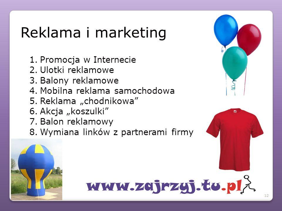 """1.Promocja w Internecie 2.Ulotki reklamowe 3.Balony reklamowe 4.Mobilna reklama samochodowa 5.Reklama """"chodnikowa 6.Akcja """"koszulki 7.Balon reklamowy 8.Wymiana linków z partnerami firmy Reklama i marketing 12"""