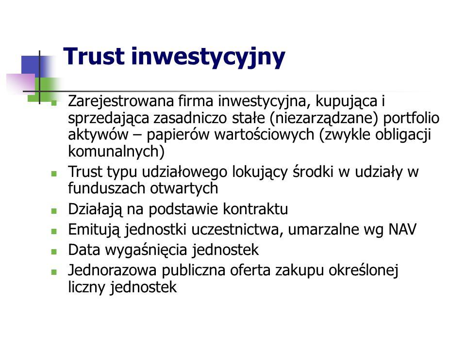 Trust inwestycyjny Zarejestrowana firma inwestycyjna, kupująca i sprzedająca zasadniczo stałe (niezarządzane) portfolio aktywów – papierów wartościowych (zwykle obligacji komunalnych) Trust typu udziałowego lokujący środki w udziały w funduszach otwartych Działają na podstawie kontraktu Emitują jednostki uczestnictwa, umarzalne wg NAV Data wygaśnięcia jednostek Jednorazowa publiczna oferta zakupu określonej liczny jednostek