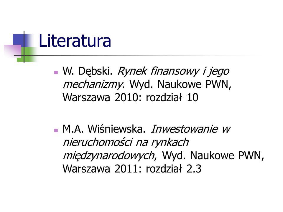 Literatura W. Dębski. Rynek finansowy i jego mechanizmy. Wyd. Naukowe PWN, Warszawa 2010: rozdział 10 M.A. Wiśniewska. Inwestowanie w nieruchomości na