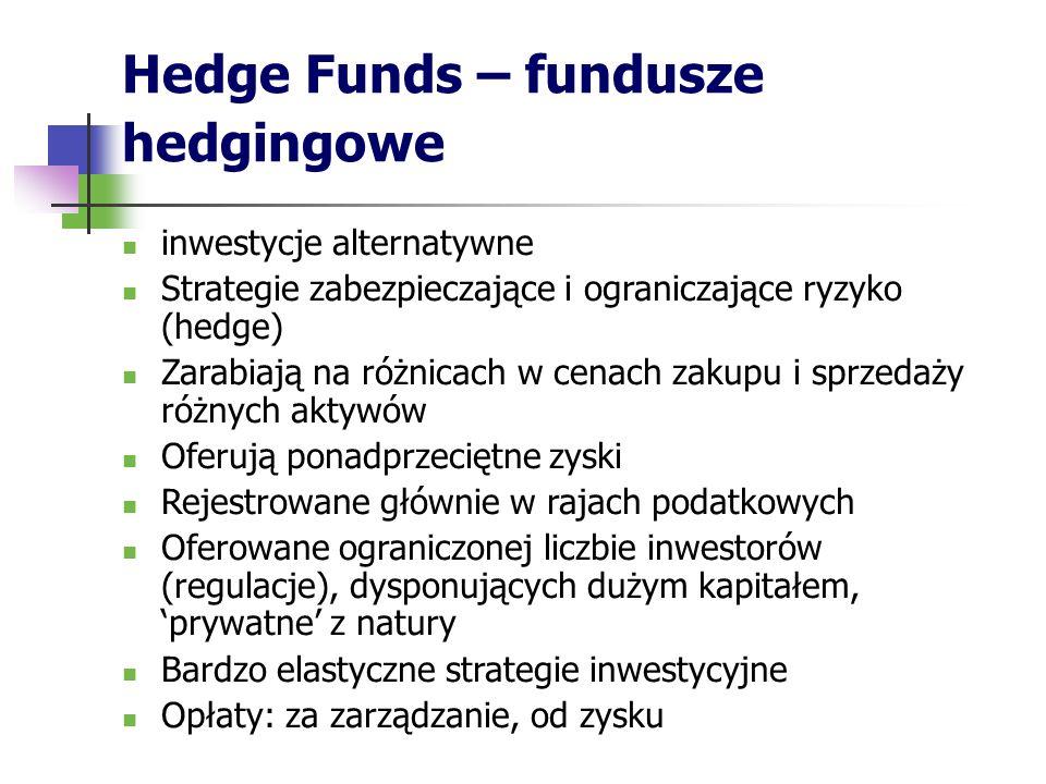 Hedge Funds – fundusze hedgingowe inwestycje alternatywne Strategie zabezpieczające i ograniczające ryzyko (hedge) Zarabiają na różnicach w cenach zakupu i sprzedaży różnych aktywów Oferują ponadprzeciętne zyski Rejestrowane głównie w rajach podatkowych Oferowane ograniczonej liczbie inwestorów (regulacje), dysponujących dużym kapitałem, 'prywatne' z natury Bardzo elastyczne strategie inwestycyjne Opłaty: za zarządzanie, od zysku