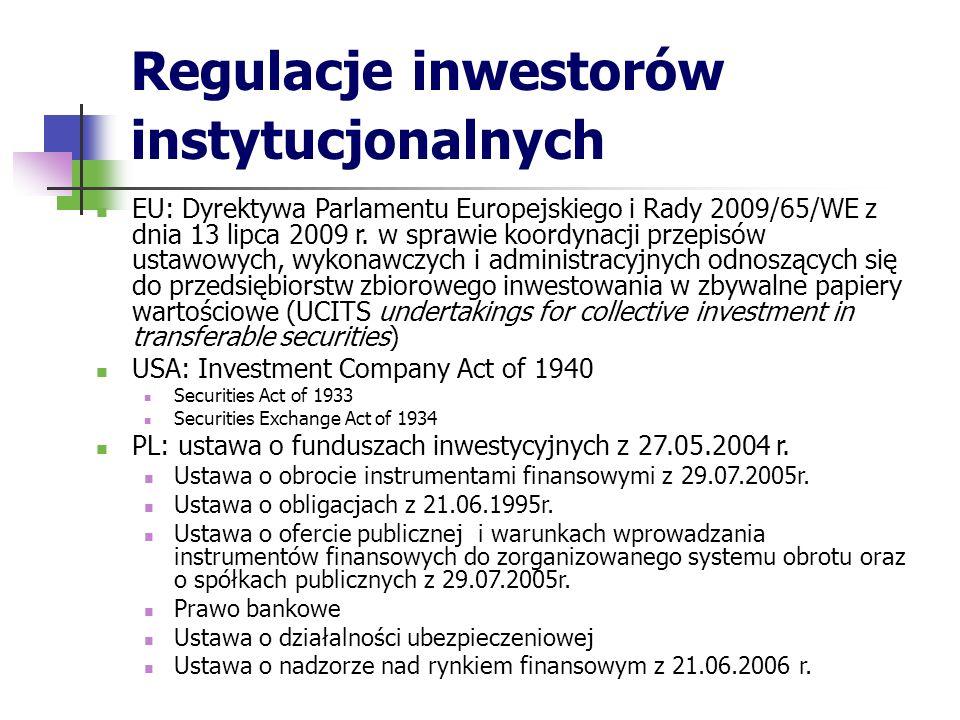 Regulacje inwestorów instytucjonalnych EU: Dyrektywa Parlamentu Europejskiego i Rady 2009/65/WE z dnia 13 lipca 2009 r. w sprawie koordynacji przepisó
