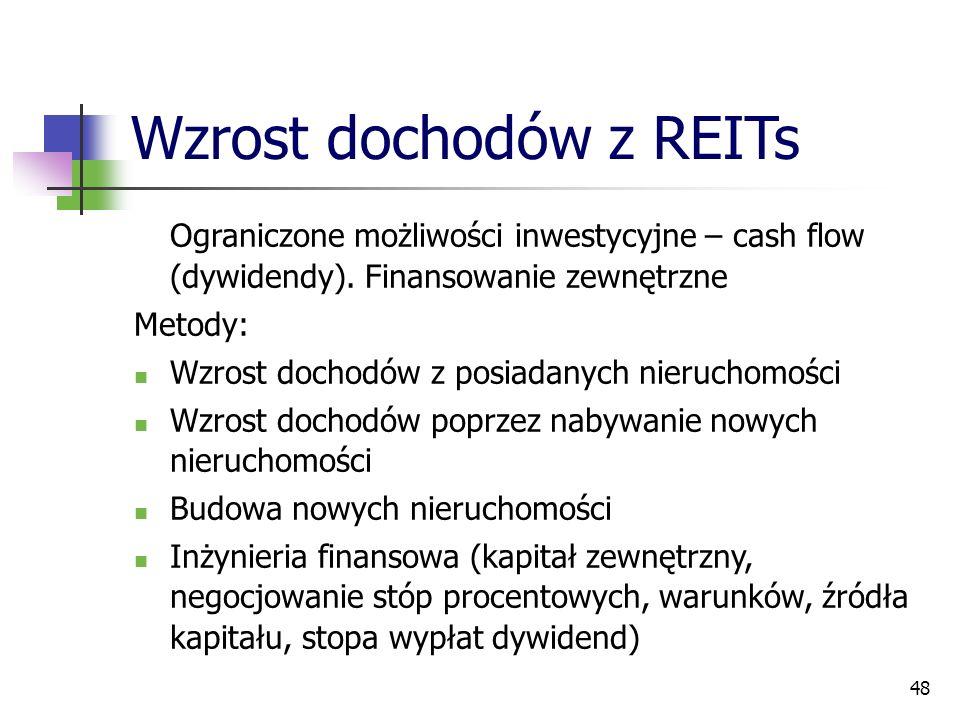 48 Wzrost dochodów z REITs Ograniczone możliwości inwestycyjne – cash flow (dywidendy). Finansowanie zewnętrzne Metody: Wzrost dochodów z posiadanych