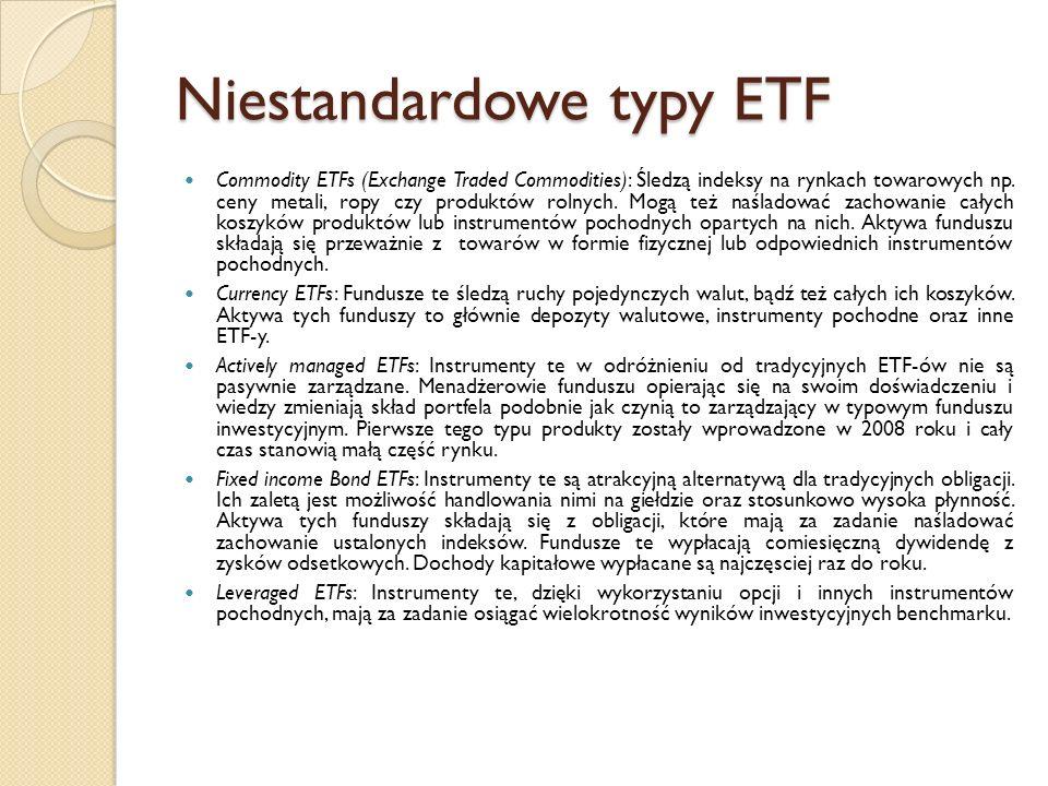Niestandardowe typy ETF Commodity ETFs (Exchange Traded Commodities): Śledzą indeksy na rynkach towarowych np.