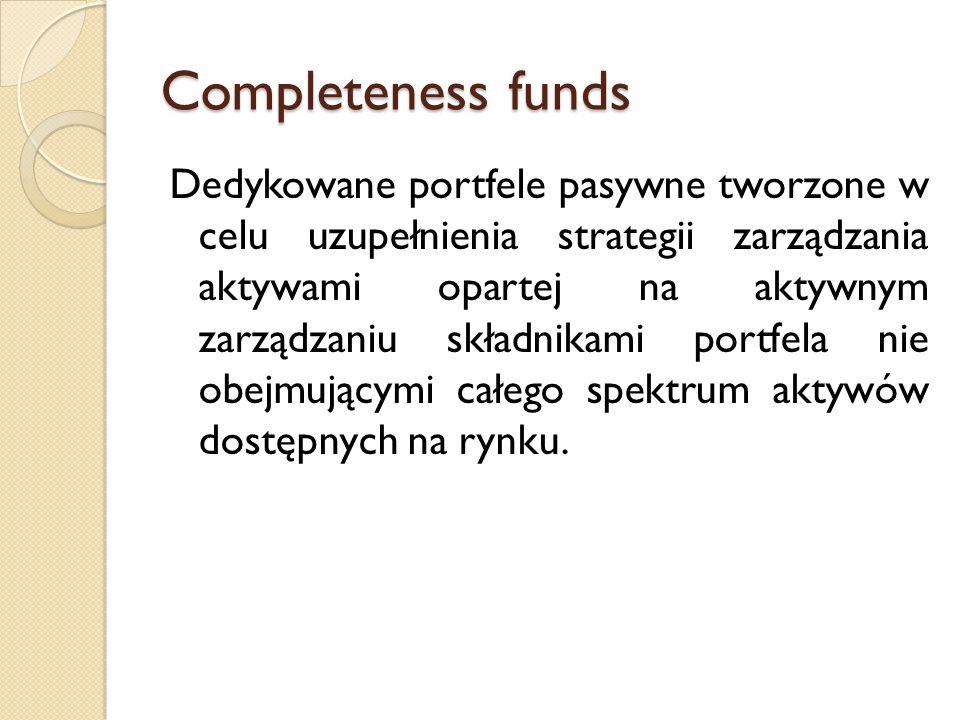 Completeness funds Dedykowane portfele pasywne tworzone w celu uzupełnienia strategii zarządzania aktywami opartej na aktywnym zarządzaniu składnikami portfela nie obejmującymi całego spektrum aktywów dostępnych na rynku.