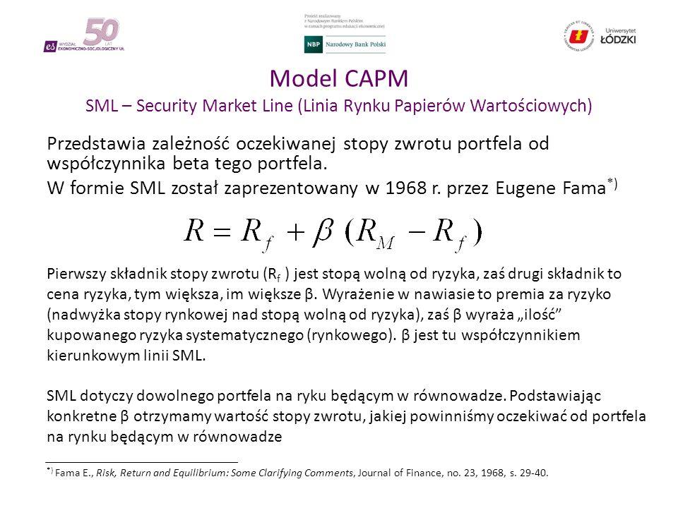 Model CAPM SML – Security Market Line (Linia Rynku Papierów Wartościowych) Przedstawia zależność oczekiwanej stopy zwrotu portfela od współczynnika beta tego portfela.