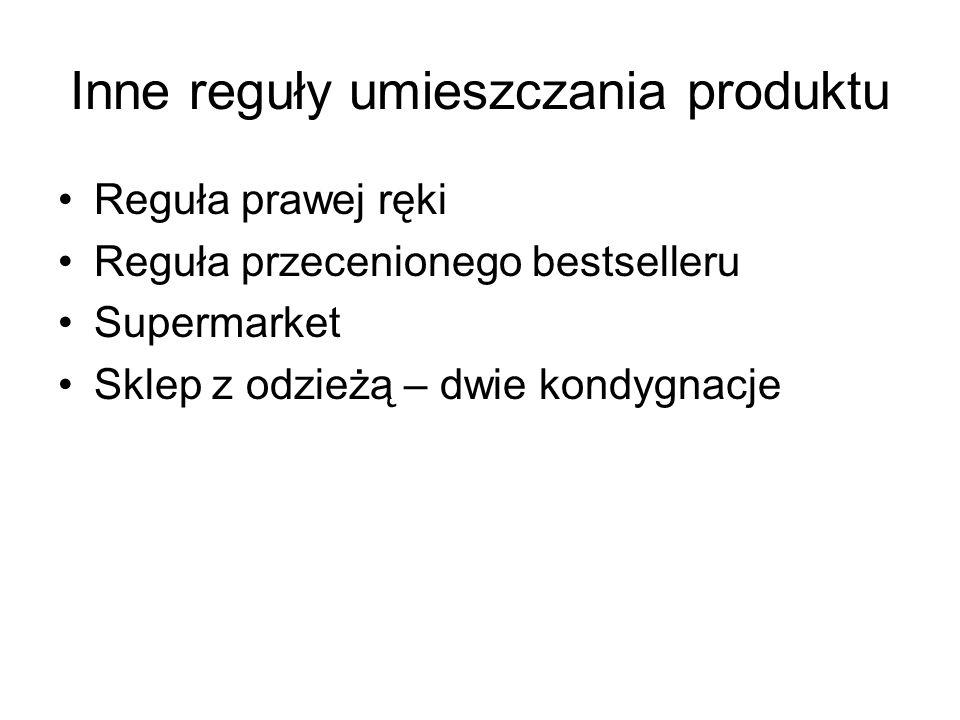Inne reguły umieszczania produktu Reguła prawej ręki Reguła przecenionego bestselleru Supermarket Sklep z odzieżą – dwie kondygnacje