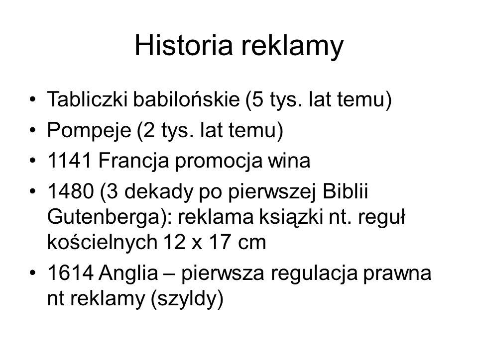 Historia reklamy Tabliczki babilońskie (5 tys. lat temu) Pompeje (2 tys.
