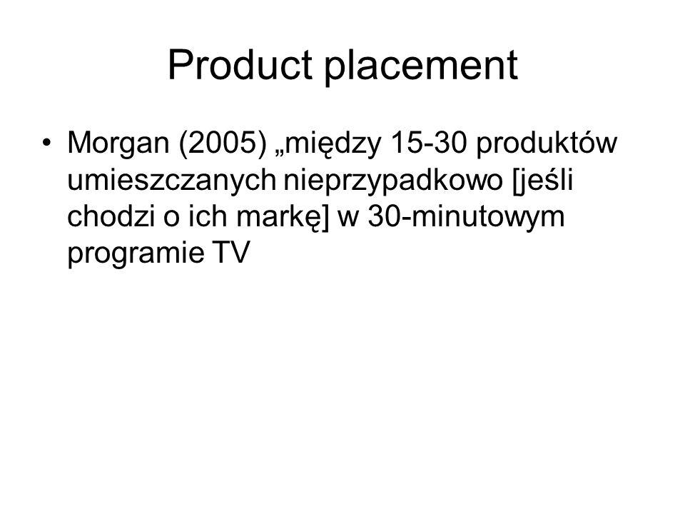 """Product placement Morgan (2005) """"między 15-30 produktów umieszczanych nieprzypadkowo [jeśli chodzi o ich markę] w 30-minutowym programie TV"""