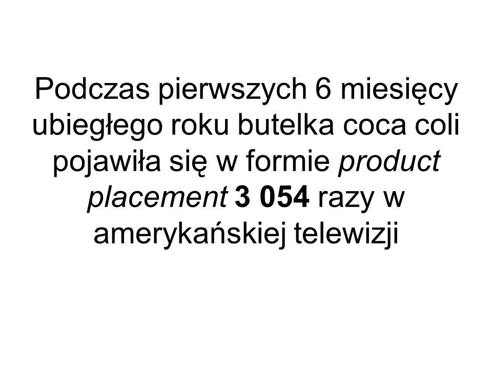 Podczas pierwszych 6 miesięcy ubiegłego roku butelka coca coli pojawiła się w formie product placement 3 054 razy w amerykańskiej telewizji
