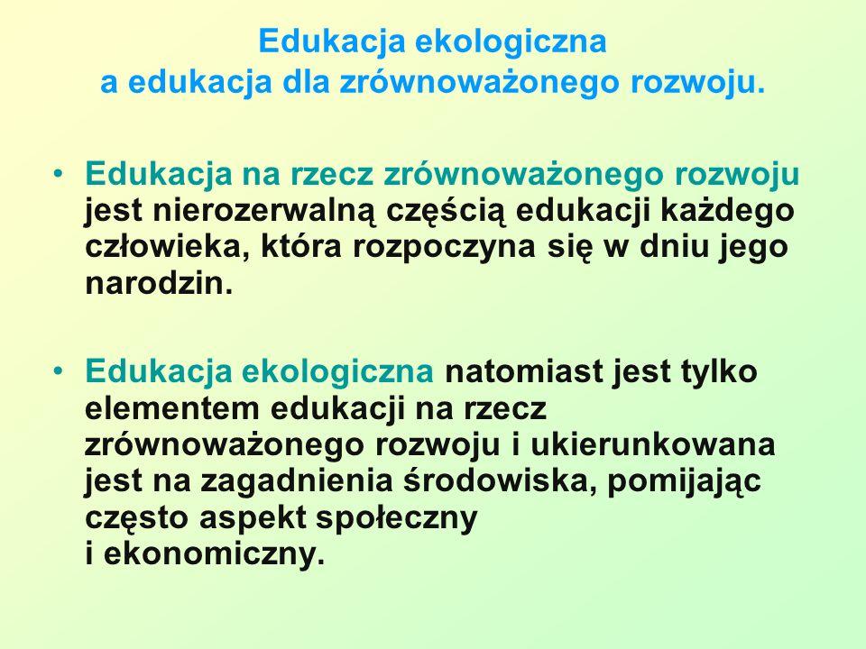 Edukacja ekologiczna a edukacja dla zrównoważonego rozwoju.