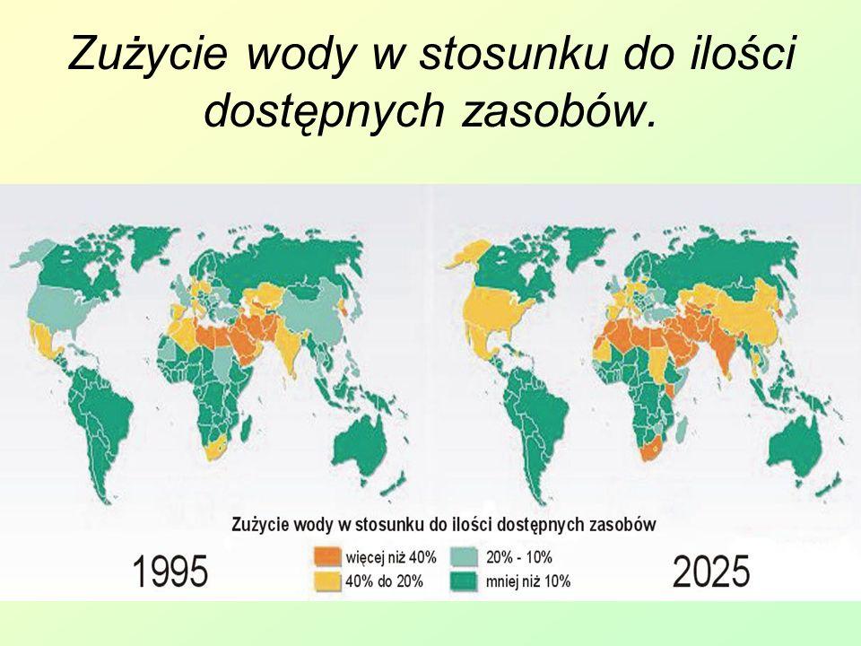 Zużycie wody w stosunku do ilości dostępnych zasobów.