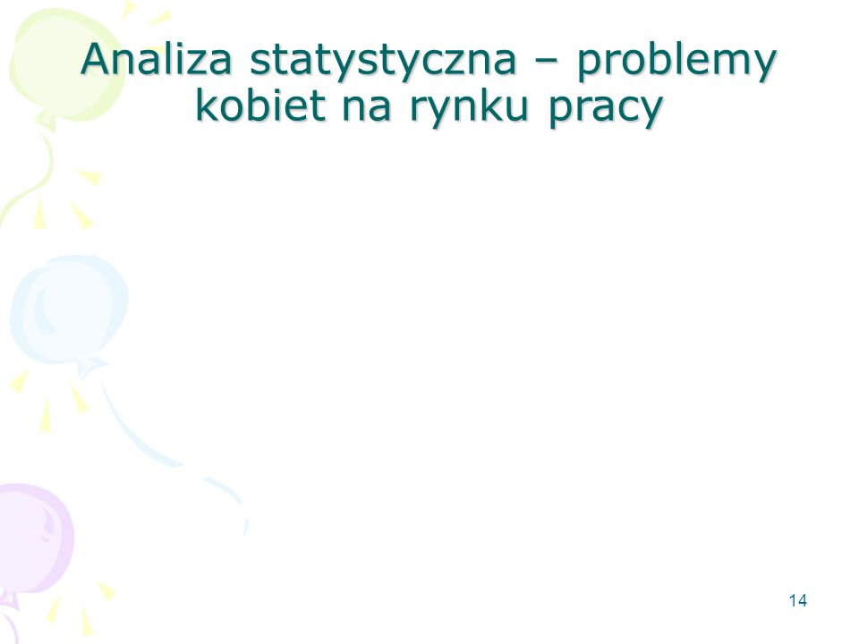 14 Analiza statystyczna – problemy kobiet na rynku pracy