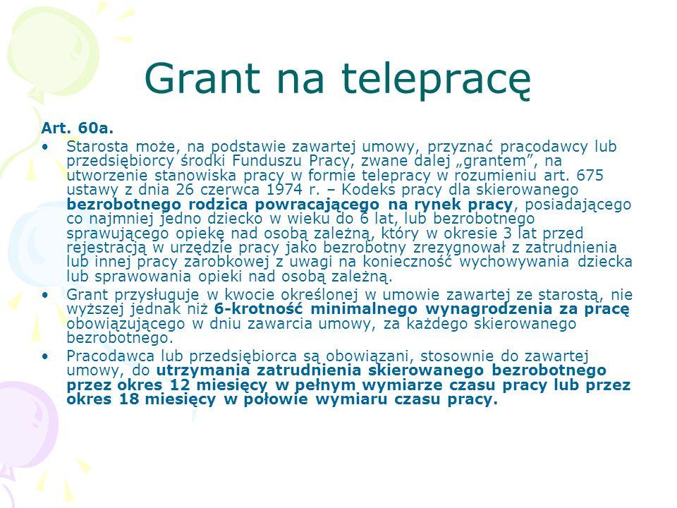 """Grant na telepracę Art. 60a. Starosta może, na podstawie zawartej umowy, przyznać pracodawcy lub przedsiębiorcy środki Funduszu Pracy, zwane dalej """"gr"""