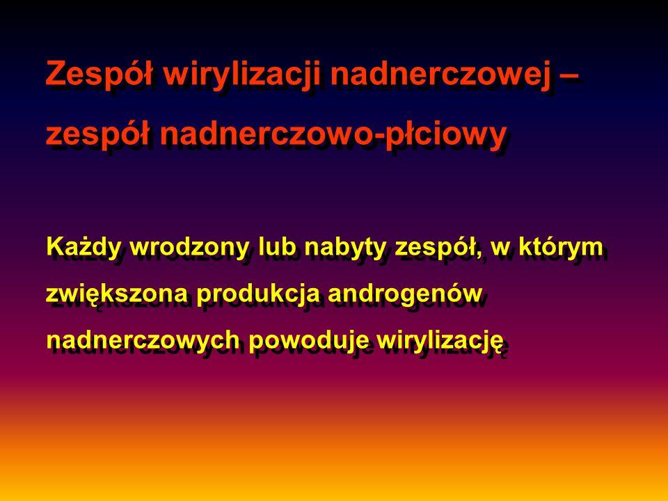Zespół wirylizacji nadnerczowej – zespół nadnerczowo-płciowy Każdy wrodzony lub nabyty zespół, w którym zwiększona produkcja androgenów nadnerczowych