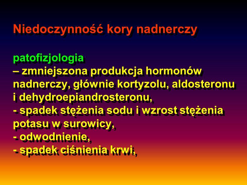 Niedoczynność kory nadnerczy patofizjologia – zmniejszona produkcja hormonów nadnerczy, głównie kortyzolu, aldosteronu i dehydroepiandrosteronu, - spa