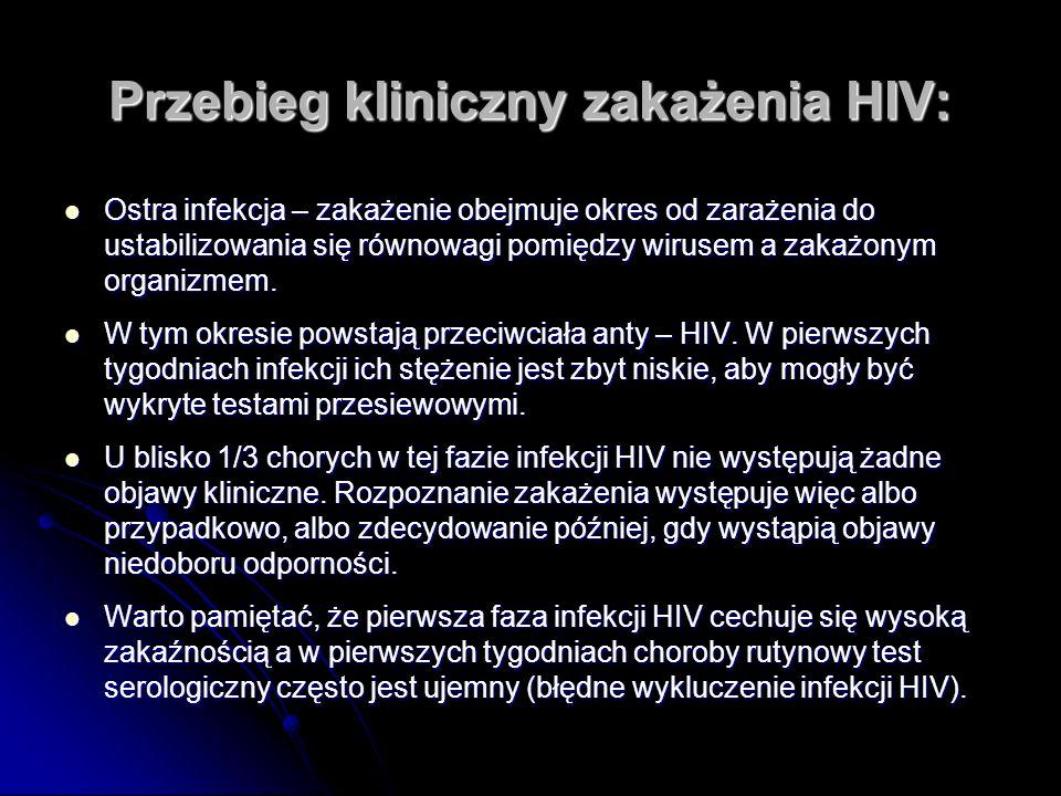 Przebieg kliniczny zakażenia HIV: Ostra infekcja – zakażenie obejmuje okres od zarażenia do ustabilizowania się równowagi pomiędzy wirusem a zakażonym organizmem.