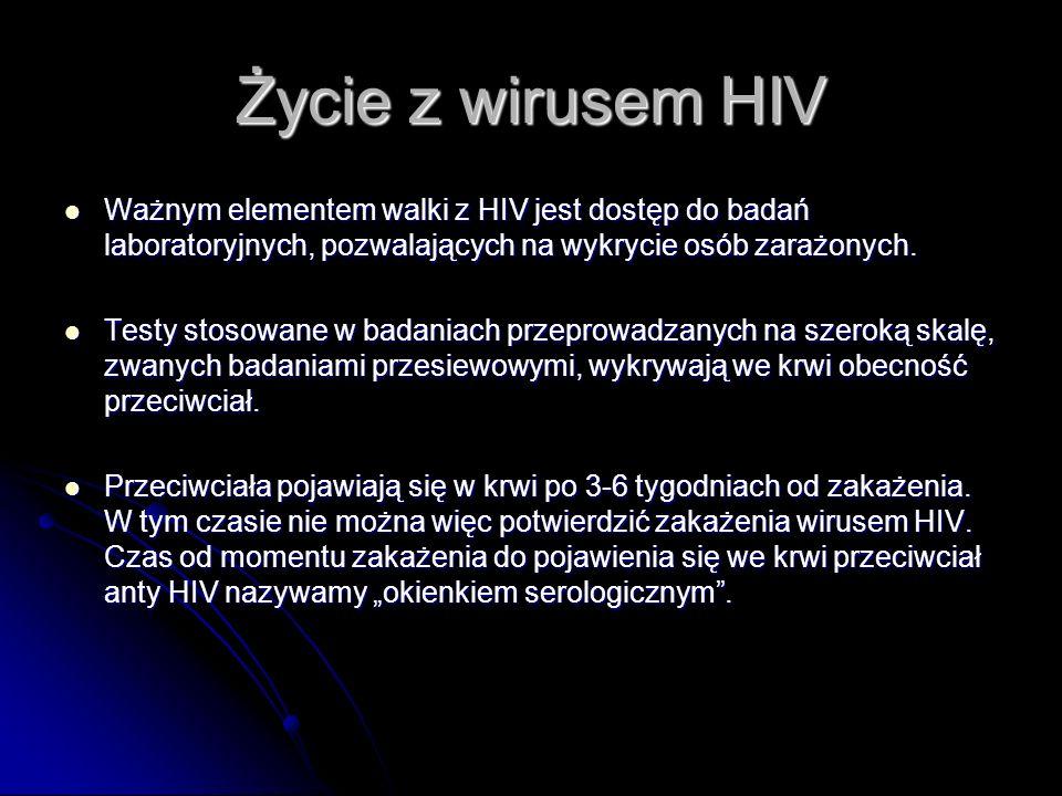 Życie z wirusem HIV Ważnym elementem walki z HIV jest dostęp do badań laboratoryjnych, pozwalających na wykrycie osób zarażonych.