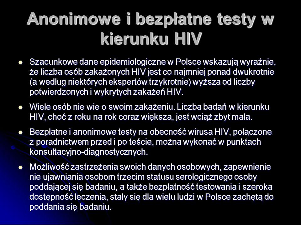 Anonimowe i bezpłatne testy w kierunku HIV Szacunkowe dane epidemiologiczne w Polsce wskazują wyraźnie, że liczba osób zakażonych HIV jest co najmniej ponad dwukrotnie (a według niektórych ekspertów trzykrotnie) wyższa od liczby potwierdzonych i wykrytych zakażeń HIV.