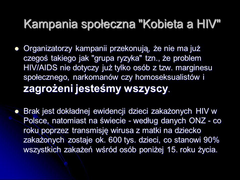 Kampania społeczna Kobieta a HIV Kampania społeczna Kobieta a HIV Organizatorzy kampanii przekonują, że nie ma już czegoś takiego jak grupa ryzyka tzn., że problem HIV/AIDS nie dotyczy już tylko osób z tzw.
