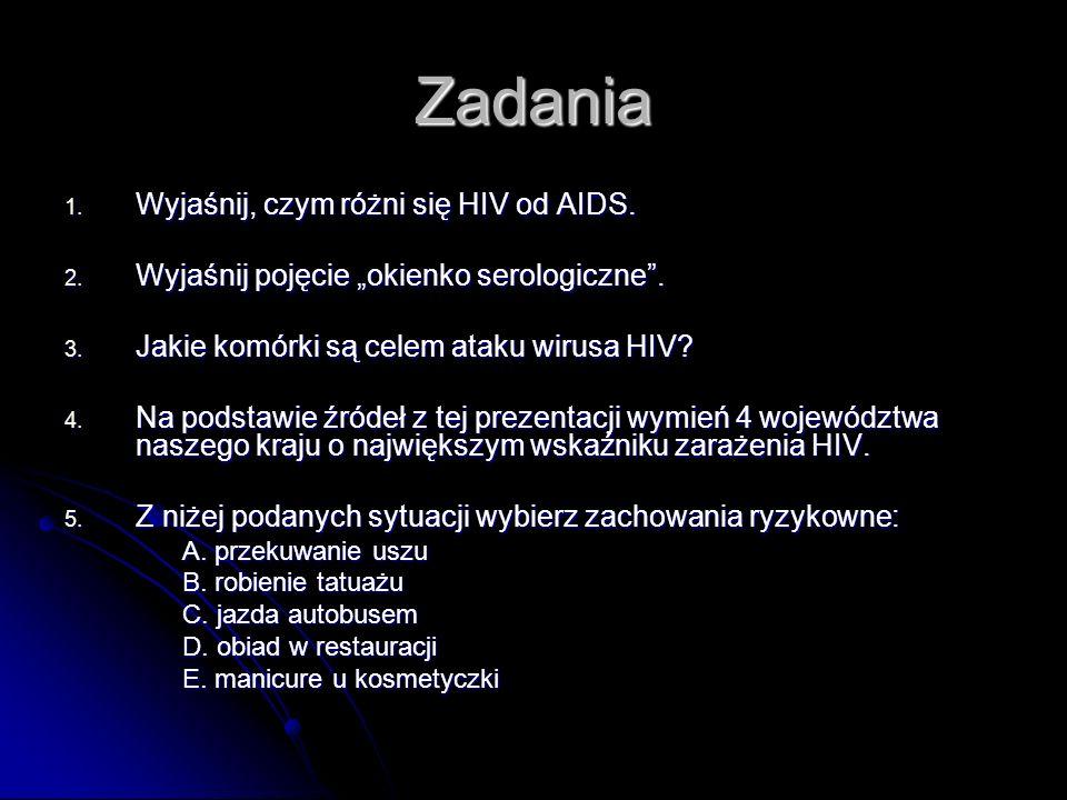 Zadania 1.Wyjaśnij, czym różni się HIV od AIDS. 2.
