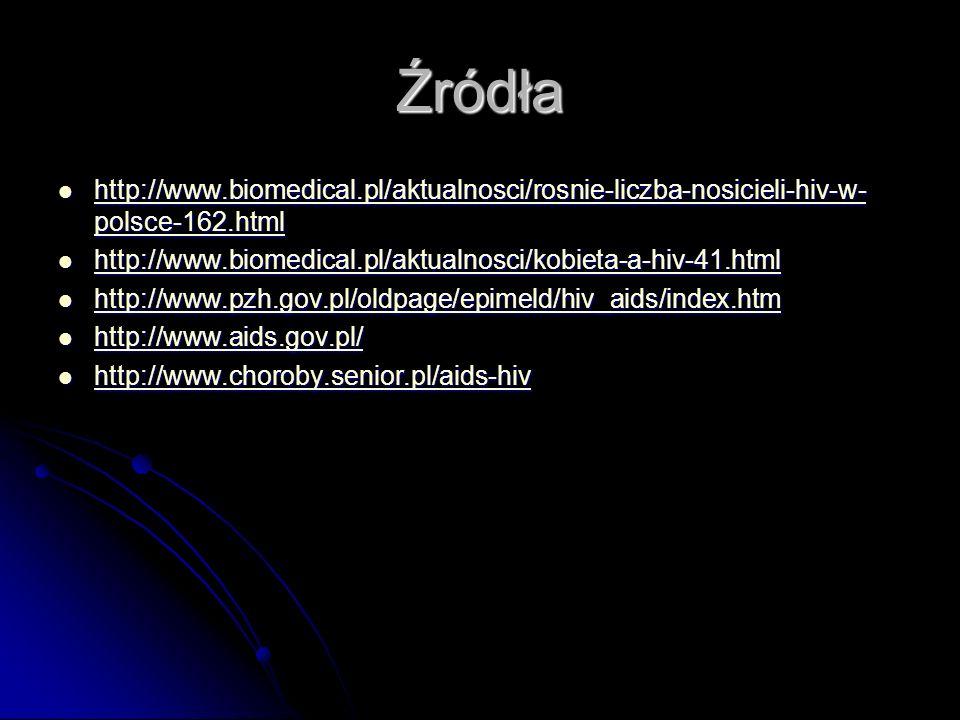 Źródła http://www.biomedical.pl/aktualnosci/rosnie-liczba-nosicieli-hiv-w- polsce-162.html http://www.biomedical.pl/aktualnosci/rosnie-liczba-nosicieli-hiv-w- polsce-162.html http://www.biomedical.pl/aktualnosci/rosnie-liczba-nosicieli-hiv-w- polsce-162.html http://www.biomedical.pl/aktualnosci/rosnie-liczba-nosicieli-hiv-w- polsce-162.html http://www.biomedical.pl/aktualnosci/kobieta-a-hiv-41.html http://www.biomedical.pl/aktualnosci/kobieta-a-hiv-41.html http://www.biomedical.pl/aktualnosci/kobieta-a-hiv-41.html http://www.pzh.gov.pl/oldpage/epimeld/hiv_aids/index.htm http://www.pzh.gov.pl/oldpage/epimeld/hiv_aids/index.htm http://www.pzh.gov.pl/oldpage/epimeld/hiv_aids/index.htm http://www.aids.gov.pl/ http://www.aids.gov.pl/ http://www.aids.gov.pl/ http://www.choroby.senior.pl/aids-hiv http://www.choroby.senior.pl/aids-hiv http://www.choroby.senior.pl/aids-hiv