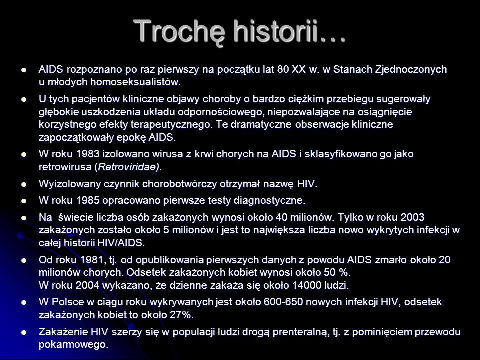Trochę historii… AIDS rozpoznano po raz pierwszy na początku lat 80 XX w.